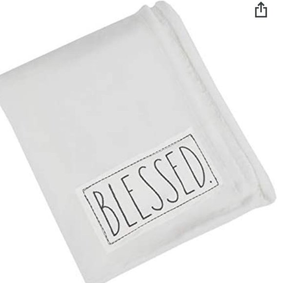 NWT Rae Dunn Plush Throw With BLESSED Patch (680)